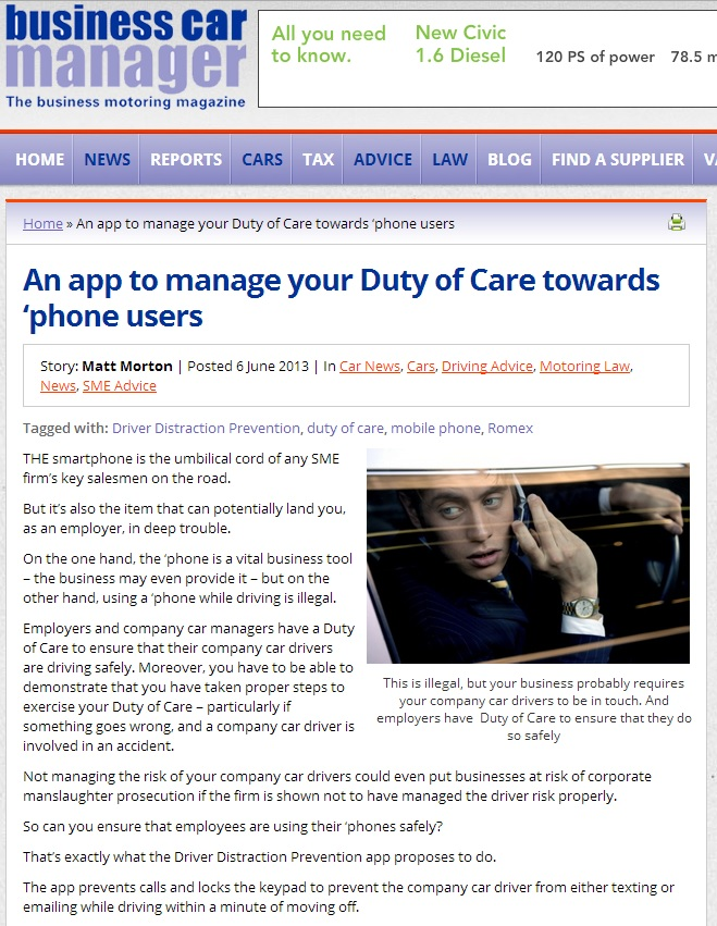 Duty of Care towards phone users