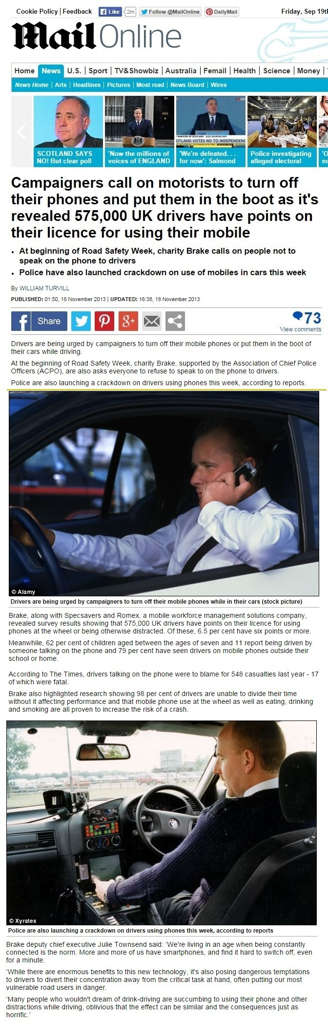 575,000 uk drivers have points from using phone while driving