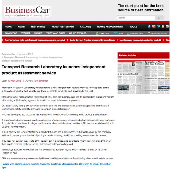 Business Car - Transport Research Laboratory launches independent product assessment service