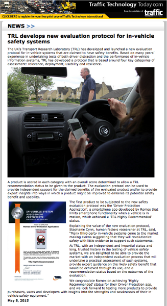 TRL develops new evaluation protocol for in-vehicle safety systems